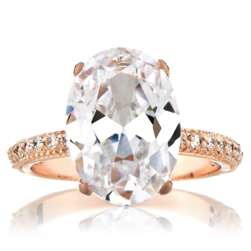 Celebrity Wedding Ring - 5 Carat Oval CZ and Rose Gold