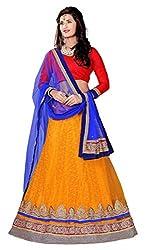 Jiya Presents Embroidered Net Lehenga Choli(Dark Yellow,Red)