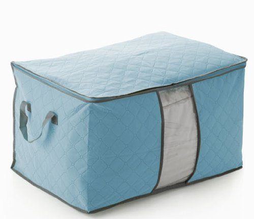Domire Quilt Cloth Blanket Fabric Storage Organizer Bag Transparent Window Bamboo Charcoal Box (Blue) (Quilt Storage Bag compare prices)