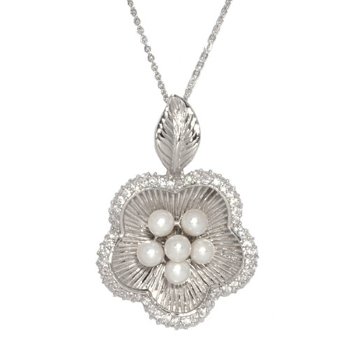 Sterling Silver Freshwater Cultured Pearl Flower Pendant Necklace -Necklace, 18