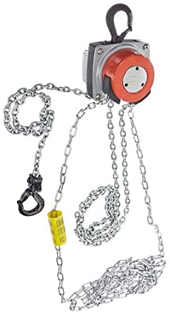 CM 5623A Steel Hurricane Hand Chain Hoist with Hook Mounted, 1000 lbs Capacity, 10' Lift Height