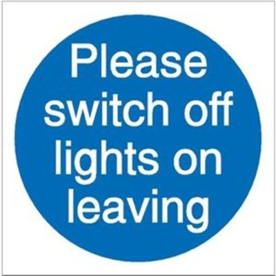 Stewart Superior Please Switch Off Lights Self Adhesive Sign Ref M013SAV [Pack of 5]