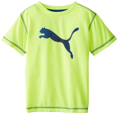Puma Little Boys' Pixel Cat T-Shirt, Safety Yellow, 4 front-865562
