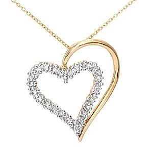 Collier Femme avec pendentif - Coeur - Or jaune (9 carats) 1.6 Gr - Diamant 0.06 Cts