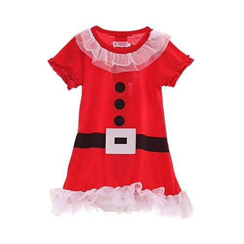 MORESAVE Costume del partito del vestito a maniche corte di Natale Bambini inverno del vestito dal tutu del bambino della ragazza