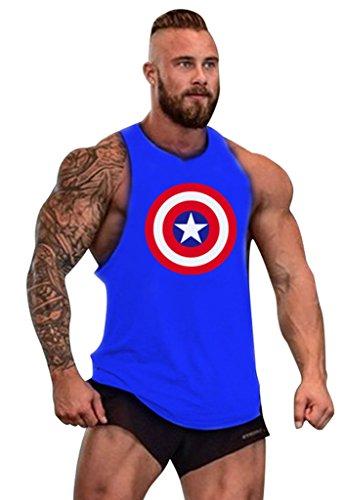 Gillbro T-shirt Mens GYM muscolare allenamento bodybuilding Canotta capitano del modello, E, M