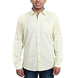 Solzo Slim Fit Lemon Solid Cotton Shirt for Men(Size: 40)