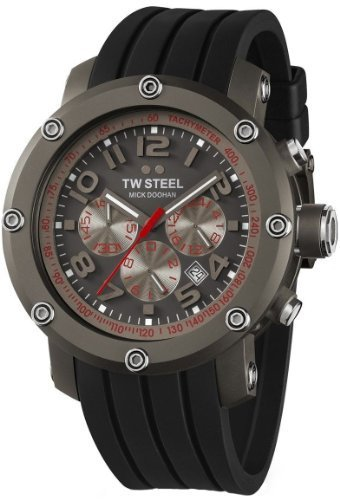TW Steel Unisex Quartz Watch with Grey Dial Chronograph Display and Black Rubber Strap TW612