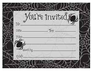 [Black Spider Web Haunted House Carnival Halloween Party Invitations w/Envelopes] (Spider Web Eye Makeup)