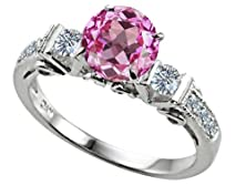 buy Star K Classic 3 Stone Ring Round 7Mm Created Pink Sapphire Size 8