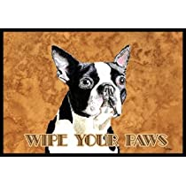 Boston Terrier Wipe Your Paws Indoor / Outdoor Floor MAT 18 X 27 Inches