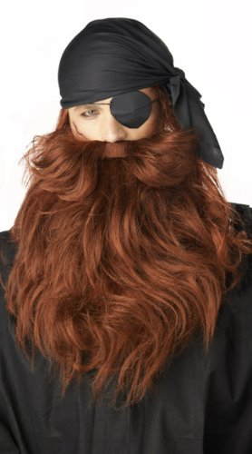 California Costumes Red Pirate Beard & Moustache Red One Size