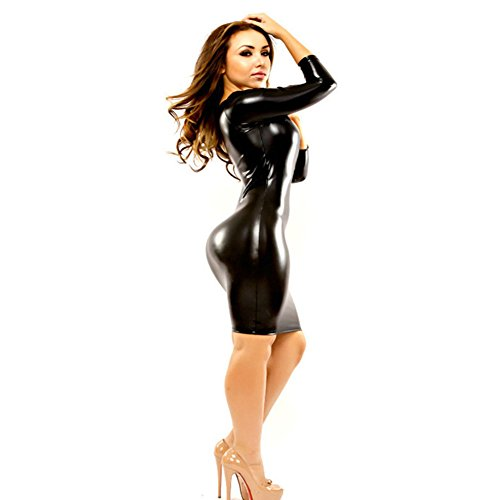 Women Sexy Dress Faux Leather Clubwear Black Latex Costume Mini Party Dresses XL
