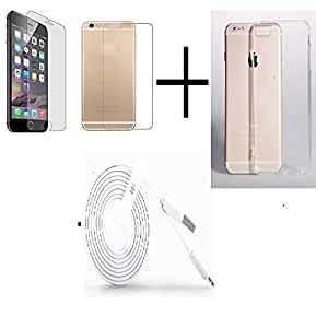 PRO+ TEMPERED GLASS FOR Iphone 6 (Front & Back) + TRANSPANRENT BACK COVER FREE + USB CABLE