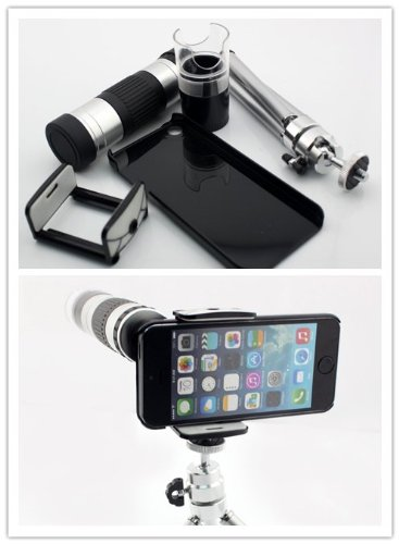 Nine States 16X Zoom Lens And 60X-220X Microscope For Iphone 5 5S With Telescopic Tripod And Back Protection Case