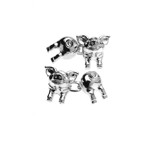 Silver Plated Pig Cufflinks, Silver, Model CAP1SB1, by Christopher Simpson