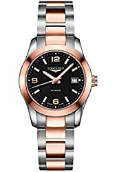 Longines Conquest Classic Black Dial Stainless Steel and 18kt Rose Gold Ladies Watch L2.285.5.56.7