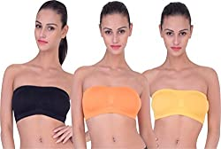 PIFTIF seamless non padded non wire strapless bandeau full side covrage tube bra for women's and girl s fit size ( 28 in to 36 in) ORANGE YELLOW BLACK