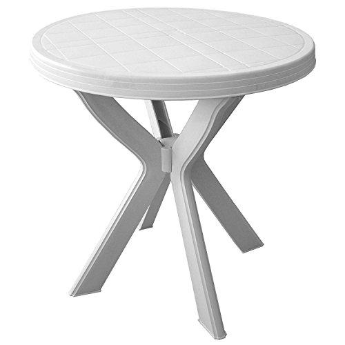 Robuster-Gartentisch-Beistelltisch-Campingtisch-70cm-Kunststoff-Balkontisch-Terrassentisch-Kunststofftisch-Weiss