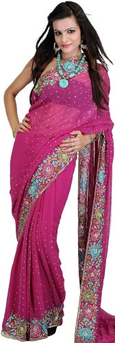 Exotic India Fuchsia-Red Wedding Sari With Crewel Embroidered Flowers - Fuchsia