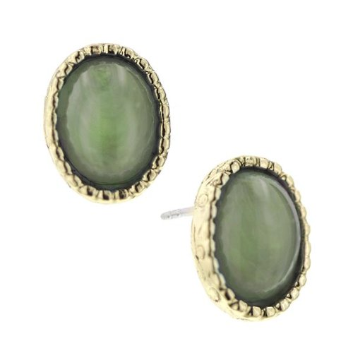 Button Top Jade Green Cabochon Earrings