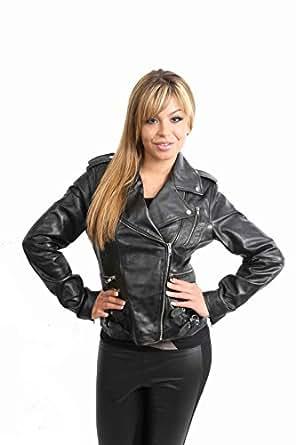 Ladies Biker Leather Jacket 7113 Black Womens Fitted Leather Jacket (10)