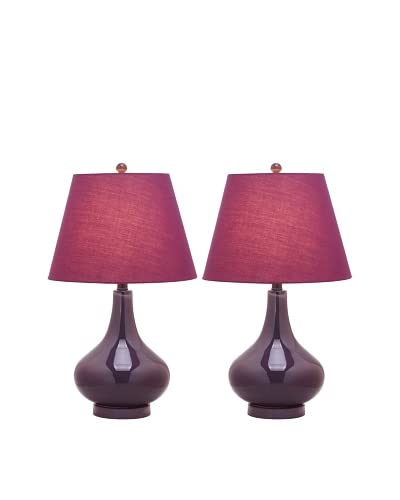 Safavieh Set of 2 Amy Gourd Glass Lamps, Dark Purple