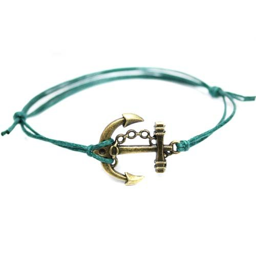 Hippy Antique Bronze Anchor Friendship Karma Wish Hope Love Peace Bracelet Cord Boho UK[GREEN]