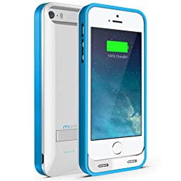 iPhone 5S Battery Case, iPhone 5 Battery Case - Maxboost Atomic S Portable Charger for iPhone 5/5S [MFI Certified] External Protective 2400mAh Battery Charging Juice Power Bank [Glossy White/Blue]