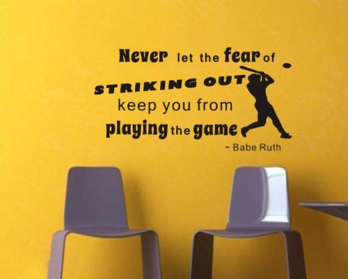 """Baseball Player Babe Ruth Quote """"Never Let The Fear Of Striking Out Keep You From Playing The Game"""" With A Baseball Player Sillhouette Boy'S Room Home Wall Art Decal Vinyl Lettering Wall Saying Tattoo Decor front-351134"""