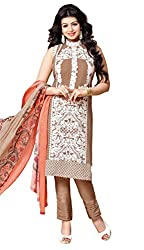Mahaveer Fashion Women's Dress Material (8957_25_72003_Brown_Free Size)
