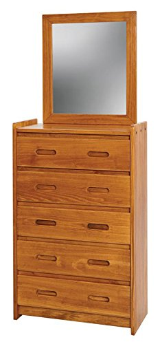 5 Drawer Standard Chest With Mirror Finish: Honey