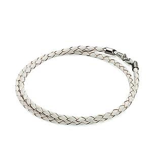 Pugster Clear White Leather Woven Wrist Chain Bracelet Fits Pandora Charm Biagi Chamilia Bead