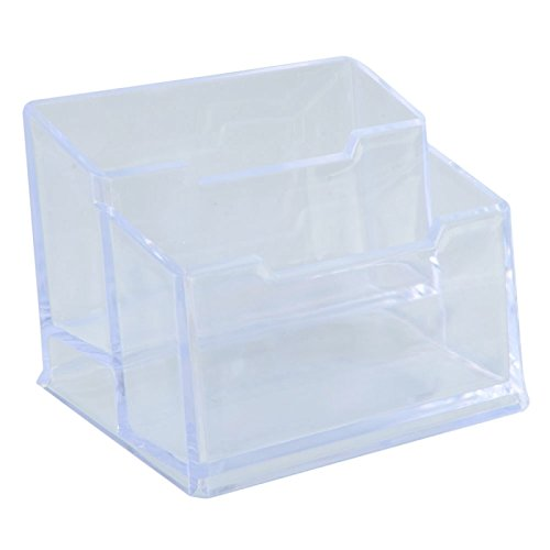 Desk Accessories - High-End Double-Layer Office Plastic Business Card Holder Transparent