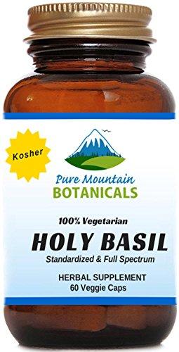 Holy Basil Supplement - 60 Kosher Veggie Capsules With Organic Holy Basil Tulsi Leaf & India Herb Extract