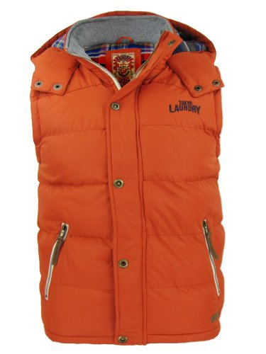 Mens Tokyo Laundry 'Kyber' Gilet/ Body Warmer Hoodie Jacket Coat - Orange [Small]