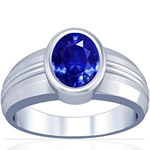 14K White Gold Oval Cut Blue Sapphire Mens Ring (GIA Certificate)