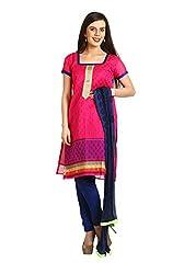 Parchayee Women's Pink Jacquard Art Silk Dress Material