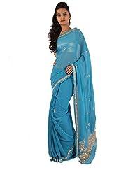 Ethnic Wear Blue Saree Designer Embroidery Work Georgette Sari