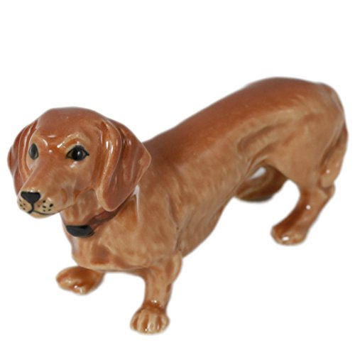 Brown Dachshund Dog Puppy Miniature Animal Figurine Pottery Ceramic Statue (2