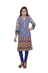 KIMYRAA Women's Cotton Kurta (KLK-1011-BLUE-XL)