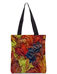 Snoogg Background Made Of Red Maple Leaves Designer Poly Canvas Tote Bag