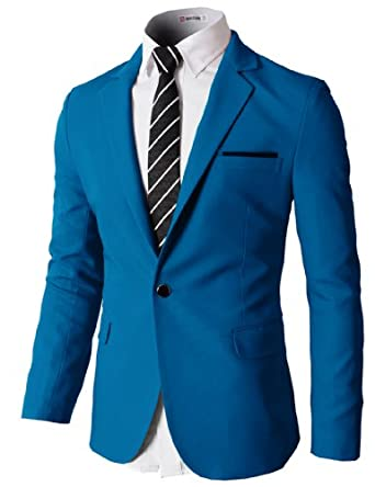 H2H Mens Slim Fit Single One Button Blazer Jackets with Pocketchief Trim BLUE US S/Asia M (KMOBL046)