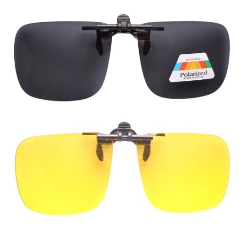 Day-Night 2 Pairs Valupac Clip On Flip Up Sunglasses