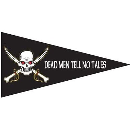 [Pirate - Deaths Head - Pennant 18in x 36in Superknit Polyester] (Pirate Cost)
