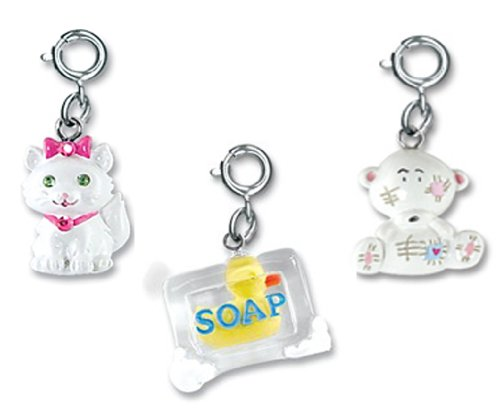 CHARM IT! Set of 3 Animal Charms with White Kitten, Patchwork Teddy and Ducky in Soap