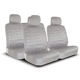 UNIVERSAL CAR SEAT COVER FOR MIDSIZE AND COMPACT CARS FULL SET - LEATHER LOOK - LIGHT GREY