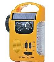 MAYMOC Radio AM/FM rechargeable, lampe de poche solaire LED lanterne et urgence lumière Rechargeable avec AM / FM Radio lumière d'urgence & chargeur de téléphone pour la marche, randonnée, Camping, maison, jardin, location vacances (jaune)