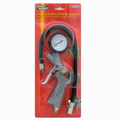 Inflator Tire Gauge Locking Chuck Air Pressure Measure Device (2 in 1 Air Inflating Tool)