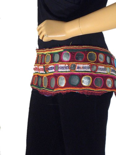 Belly Dance Costume Belt Dancewear Vintage Tribal Gypsy Kutch Mirror Textile
